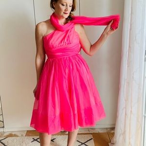 Vintage 50s Pink Party Dress XS One shoulder Prom